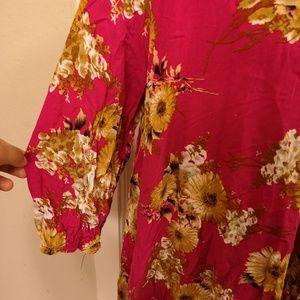 JODIFL Tops - Pink Tunic Jodifl M Oversized Flowy Blouse Medium